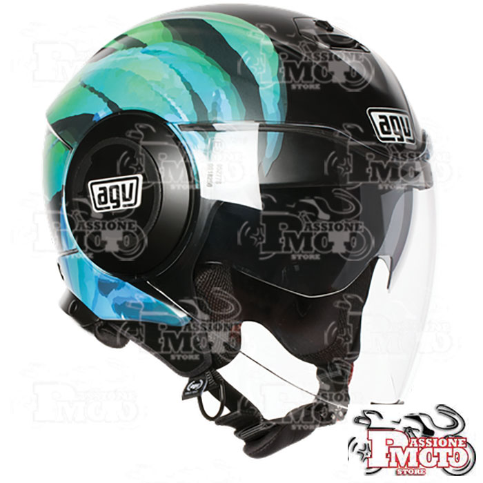 Casco AGV Fluid Multi Kew Matt Black-Lime-Aqua