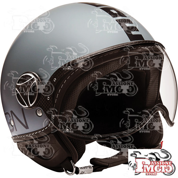 Casco Jet Momo Design Fgtr Classic Grey Matt Decal Black