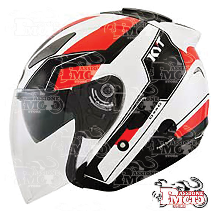 Casco Kyt Hellcat GX-S White/Red Fluo