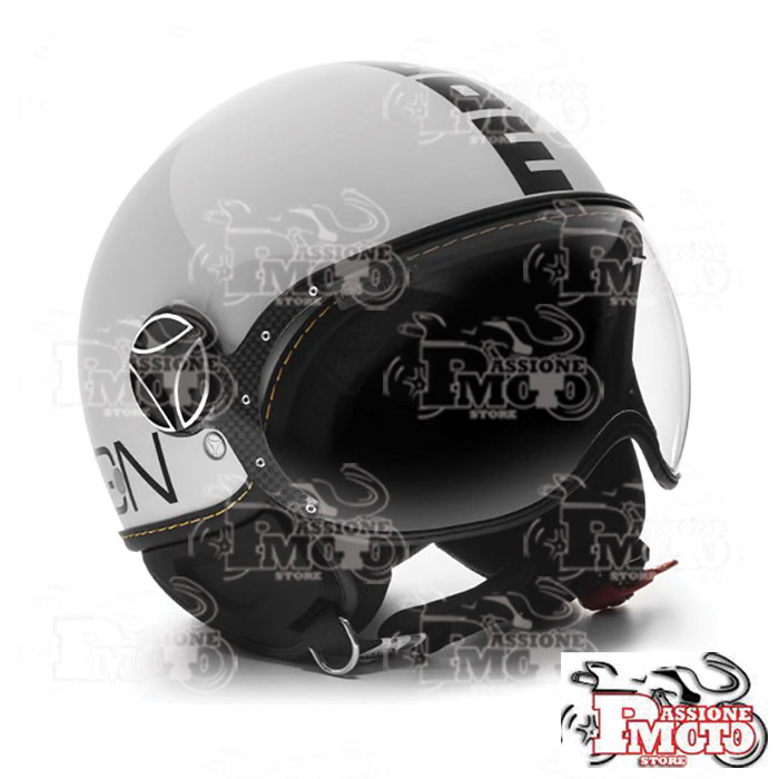 Casco Jet Momo Design Fgtr Evo Glossy White Decal Black