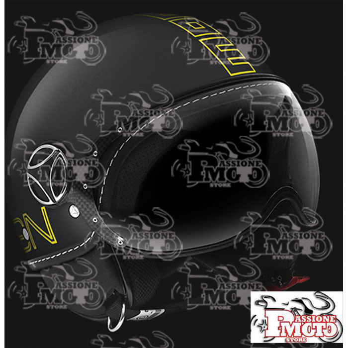 Casco Jet Momo Design Fgtr Glam Nero Lucido Decal Outline Giallo