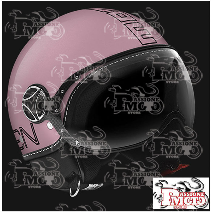 Casco Jet Momo Design Fgtr Glam Rosa Decal Outline Nero