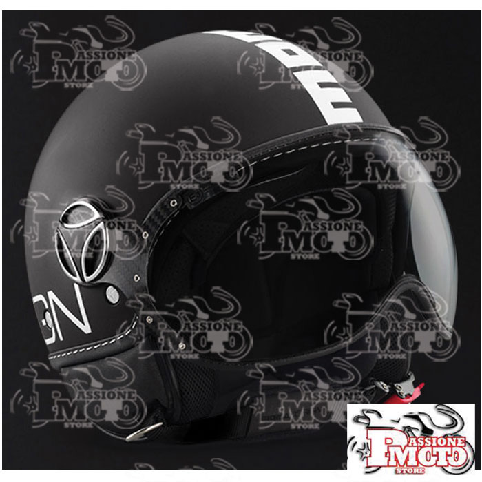 Casco Jet Momo Design Fgtr Nero Opaco Decal Bianca