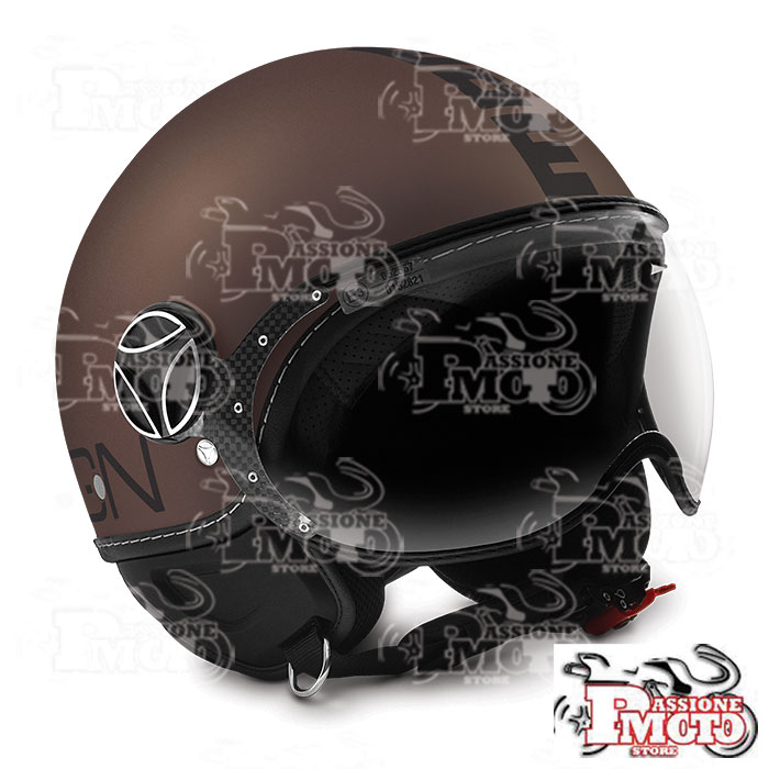 Casco Jet Momo Design Fgtr Evo Frost Tabacco Decal Black