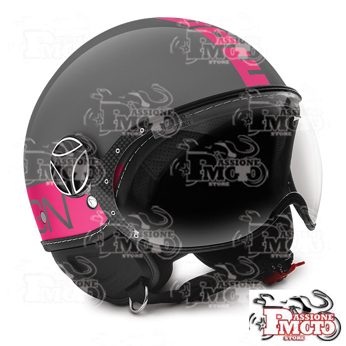 Casco Jet Momo Design Fgtr Glam Glossy Grey Decal Fuxia Fluo