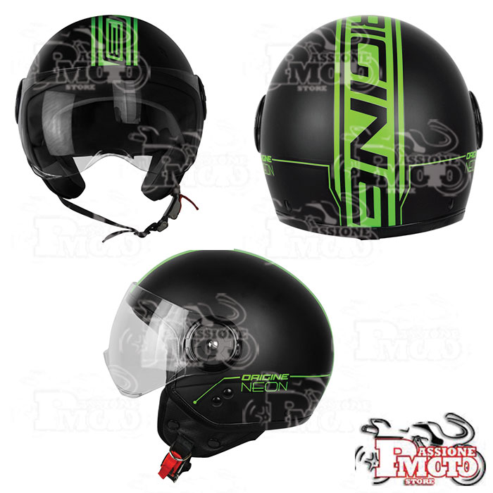 Casco Jet Origine Neon Street Green